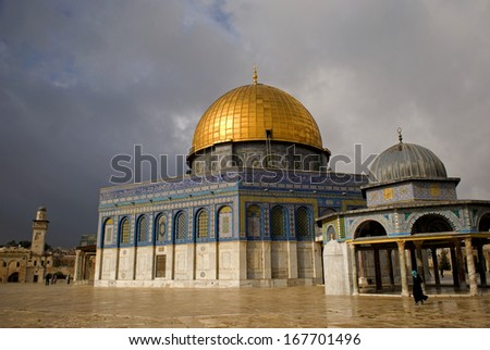 JERUSALEM, ISRAEL - DECEMBER 8: Temple Mount on December 8, 2013, Jerusalem, Israel. The Dome of Rock and the Al Aksa Mosque are the third holiest place of Islam.