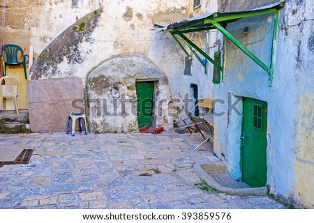 JERUSALEM, ISRAEL - FEBRUARY 16, 2016: The old yard of the Ethiopian Monastery, located on the roof of the Church of the Holy Sepulchre, on February 16 in Jerusalem.