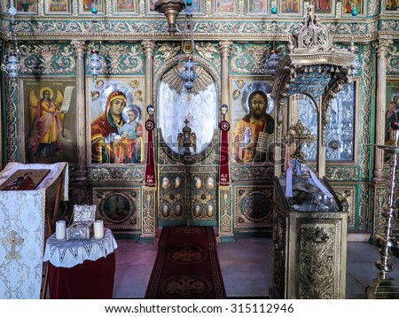 JERUSALEM, ISRAEL - JULY 13, 2015: the interior of the Orthodox church. John the Baptist in Jerusalem, Israel. One of the oldest surviving churches - stock photo