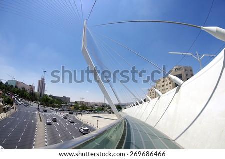 JERUSALEM, ISRAEL - JULY 06, 2014: View from the bridge by Santiago Calatrava at the entrance to Jerusalem - stock photo