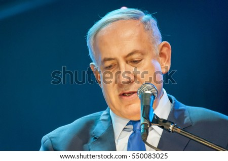 JERUSALEM, ISRAEL. June 14, 2016. Israeli prime minister Benjamin Netanyahu making an address.