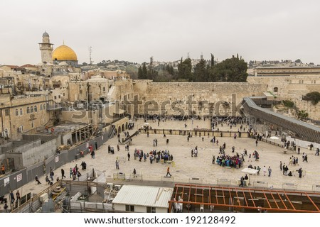 JERUSALEM, ISRAEL - MARCH 9: Jews praying at the western wall on March 9, 2014 in Jerusalem, Israel.