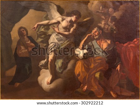 JERUSALEM, ISRAEL - MARCH 5 , 2015: The Apparition of angel to St. Joseph in the dream paint in St. Ann church by unknown artist. - stock photo