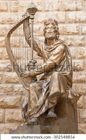JERUSALEM, ISRAEL - MARCH 4, 2015: The King David sculpture dedicated to the Israeli sculpture David Palombo (1920 - 1966) befort the King Davidâ??s tomb, which is on Mount Zion. - stock photo