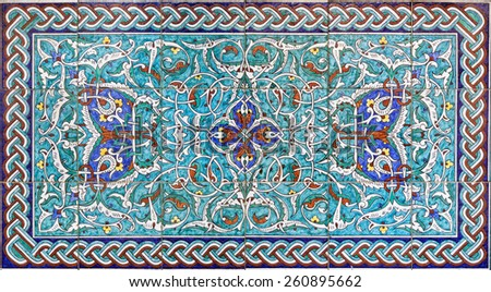 JERUSALEM, ISRAEL - MARCH 5, 2015: The tiled decoration in vestibule of St. James Armenian cathedral from end of 19. cent. - stock photo