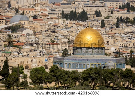 JERUSALEM, ISRAEL - MAY 07, 2015: Jerusalem, view of the old city and Dome of the Rock