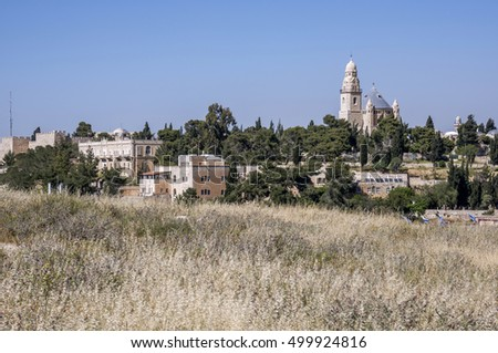 JERUSALEM, ISRAEL - MAY 03, 2015: Landscape and view of the Dormition Abbey, Mount Zion