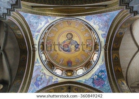JERUSALEM , ISRAEL -    MAY 16 , 2014 : View Inside Church of the Holy Sepulcher