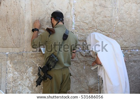Jerusalem, Israel -?? November 2 , 2016: Soldier and jewish Prayer at the Western Wall in Jerusalem. Israel