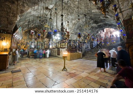 JERUSALEM, ISRAEL - 09 OCT, 2014: Interior of the Tomb of the Virgin Mary, the mother of Jesus at the foot of mount of olives in Jerusalem - stock photo