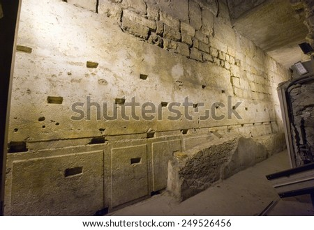 JERUSALEM, ISRAEL - OCT 07, 2014: 'The western stone' is the biggest stone discovered underground of the western wall, it has a length of 13.6 meters long and 3 meters high - stock photo