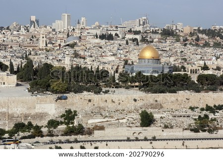 Jerusalem, Israel: October 17, 2012 - Look at Jerusalem from the Mount of Olives, Israel