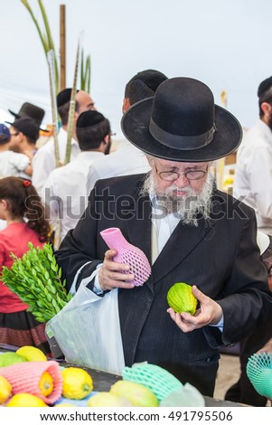 JERUSALEM, ISRAEL - OKTOBER 8, 2014: Traditional market before the holiday of Sukkot. Orthodox Jew with a white beard in a black hat chooses citrus