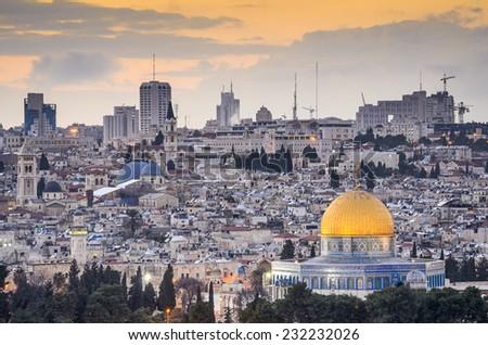 Jerusalem, Israel old city skyline. - stock photo