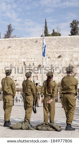 Jerusalem, Israel-Palestine - June 21, 2011: Participants in the Israeli Army's Marva program, gather in front of the Western Wall for their graduation ceremony.