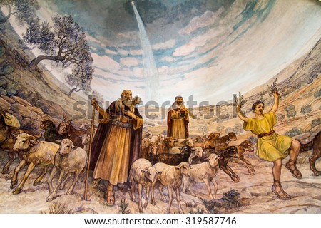 JERUSALEM/ ISRAEL - September 13, 2014: Angel of the Lord visited the shepherds and informed them of Jesus' birth, Bethlehem, Church at the Shepherds' Fields