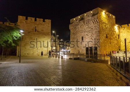 Jerusalem/ Israel - 23-05-2015: The square near Jaffa gate in old city Jerusalem - stock photo