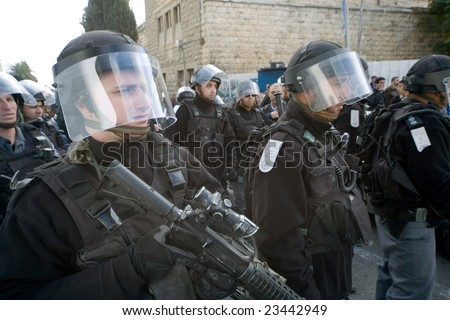 Jerusalem - JANUARY 02: Police at the demonstration against war in Gaza strip on January 02, 2009 at Old City, Jerusalem, Israel