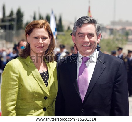 JERUSALEM, July 22 2008:  Encounter in the Israeli parliament of the Prime Minister of England Gordon Brown with the wife by Sarah of those arrived with the four-day visit on July 22, Jerusalem, Israel - stock photo