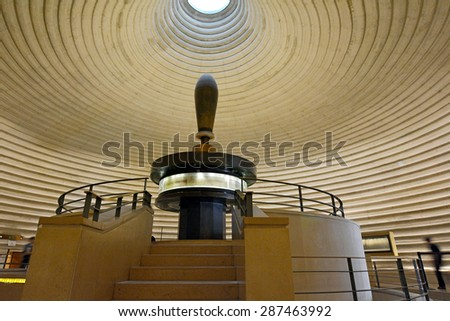 JERUSALEM - MAY 07 2015:The Shrine of the Book, Museum of Israel, Jerusalem.It houses the Dead Sea Scrolls, discovered in 1947-56 in 11 caves in and around the Wadi Qumran. - stock photo