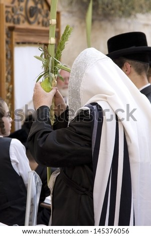 JERUSALEM-OCT 0: The Jews in prayer at the Western Wall during Jewish holiday of Sukkot, October 2, 2012 in Jerusalem, Israel.Etrog and Lulav is two of four species used during of Sukkot.  - stock photo