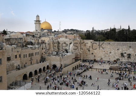 JERUSALEM - OCTOBER 22: Jewish prayers and pilgrims beside Western Wall October 22, 2012 in Jerusalem, Israel.