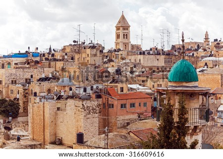 Jerusalem Old City from Austrian Hospice Roof, Israel - stock photo