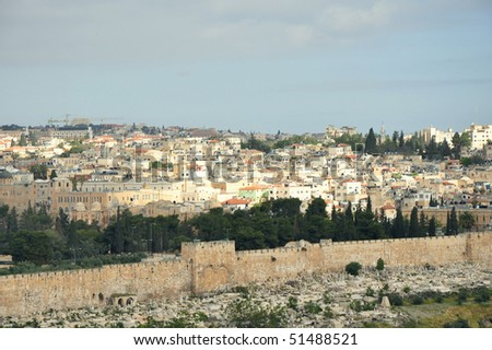 Jerusalem Old City View from Mount of Olives - stock photo