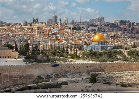 Jerusalem - Outlook from Mount of Olives to old city - stock photo