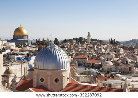 Jerusalem panoramic to roof view of sacred places  christians, jewish and muslims   - stock photo