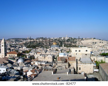 jerusalem roofs , panoramic view - stock photo