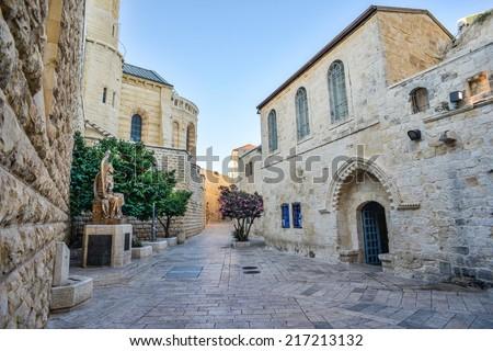 Jerusalem street in the old city - stock photo