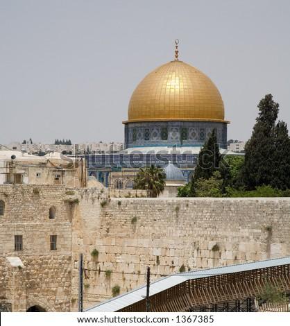 Jerusalem wailing wall and temple mount - very large image - stock photo
