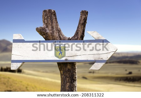 Jerusalem wooden sign isolated on desert background - stock photo