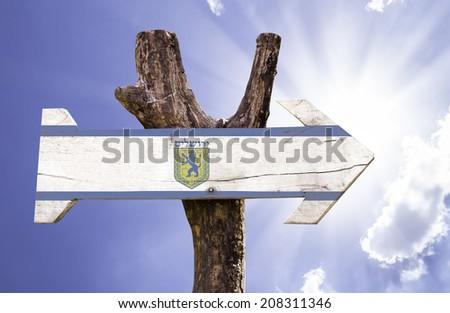 Jerusalem wooden sign on a beautiful day - stock photo