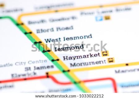 Haymarket Station Newcastle Metro Map Stock Photo 1033022215