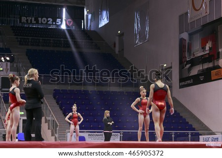 Jesolo, Italy -  18 March 2016: IX  Jesolo Gymnastics Trophy Cup, Podium Training