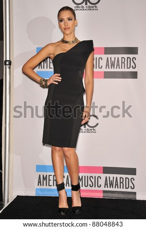 Jessica Alba at the 2010 American Music Awards at the Nokia Theatre L.A. Live in downtown Los Angeles. November 21, 2010  Los Angeles, CA Picture: Paul Smith / Featureflash - stock photo