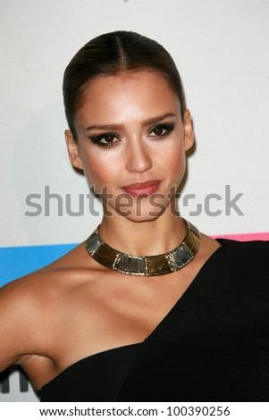 Jessica Alba at the 2010 American Music Awards Press Room, Nokia Theater, Los Angeles, CA. 11-21-10 - stock photo