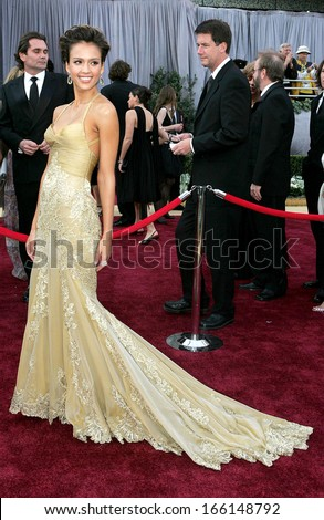 Jessica Alba, wearing a Versace gown, at OSCARS 78th Annual Academy Awards, The Kodak Theater, Los Angeles, CA, March 05, 2006 - stock photo