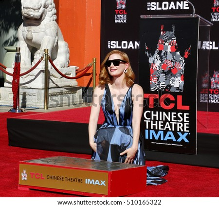 Jessica Chastain at Jessica Chastain Hand And Footprint Ceremony held at the TCL Chinese Theatre in Hollywood, USA on November 3, 2016.