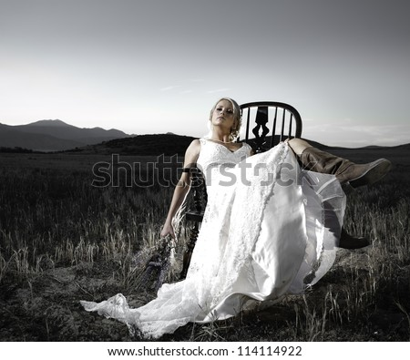 Jessica Shephard poses for a Bridal portrait in Eagle Mountain, Utah, on Sept 15, 2012. (Photo by Darren Stuart) - stock photo