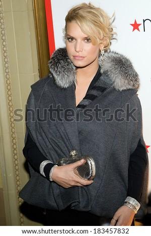 Jessica Simpson, in a Luca Luca cape, Judith Ripka bracelets, Kara Ross earrings and Bottega Veneta clutch, at MACY's 150th Anniversary Gala, Gotham Hall, New York, October 28, 2008 - stock photo