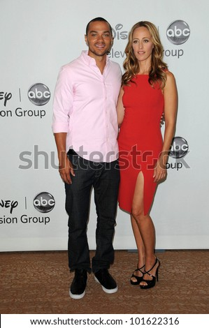 Jessie Williams and Kim Raver at the Disney ABC Television Group Summer 2010 Press Tour, Beverly Hilton Hotel, Beverly Hills, CA. 08-01-10 - stock photo