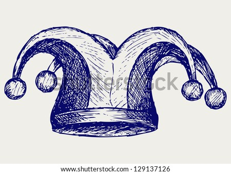 Jester hat. Doodle style. Raster version - stock photo