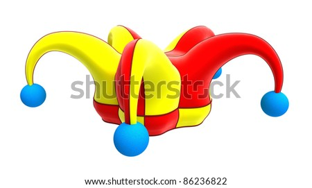 jester hat isolated on white - stock photo