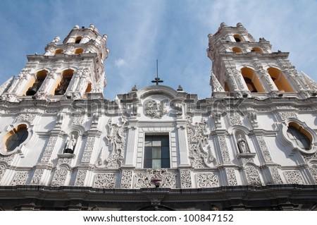 Jesuit church of La Compa�±ia, Puebla (Mexico) - stock photo