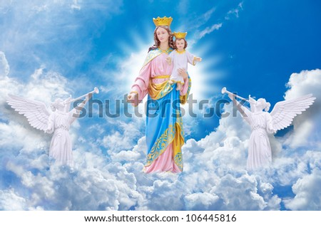 Jesus and Mary on heaven - stock photo