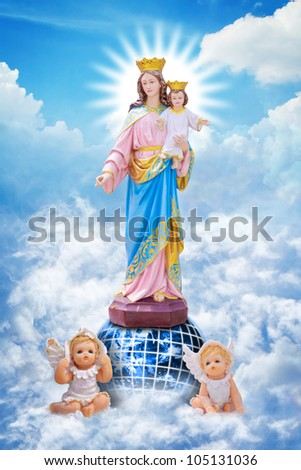 Jesus and Mary on heaven: Elements of this image furnished by NASA - stock photo