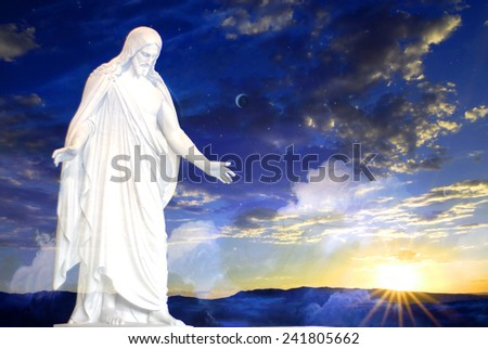Jesus at creation with sunset - stock photo